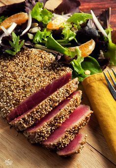 Paleo diet 418201515397789545 - Sesame Spiced Tuna (Be cautious, some with FODMAP intolerance don't do well with lots of nuts and seeds) Source by christophemagib Tuna Steak Recipes, Sushi Recipes, Paleo Recipes, Gourmet Recipes, Cooking Recipes, Ahi Tuna Steak Recipe, Fresh Tuna Recipes, Fish Dishes, Seafood Dishes