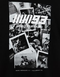 Pull&Bear - man - clothing - t-shirts - t-shirt with mm93 photo collage (marc márquez collection) - black - 05230528-I2017