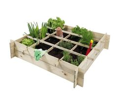 Urban garden design and wooden planters with square foot grid division.
