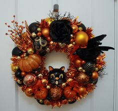 Creatures of the Night Halloween Ornament Wreath Vintage Inspired Tealight Black Cat by Kitschmas Wreaths  (Erika Tugas)