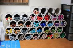 PVC pipes to store your art markers- great idea from plainangela.com