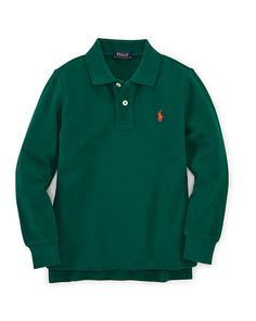 Cotton Long-Sleeved Polo Shirt - Polos Shirts & Rugbys Boys' 1½-6 Years - Ralph Lauren UK