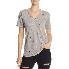 Rails Cara Lightning Print Tee (£64) ❤ liked on Polyvore featuring tops, t-shirts, heather gray lightning, pattern tees, heather grey t shirt, mixed print top, heather gray t shirt and print t shirts
