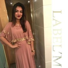 Actress nazriya nazim in a Label'M Cape gown Stylish Dress Designs, Designs For Dresses, Stylish Dresses, Fashion Dresses, Cape Gown, Churidar Designs, Shrug For Dresses, Blush Bridesmaid Dresses, Party Wear Dresses