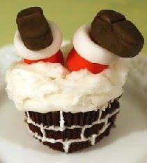 Santa down chimney cupcakes