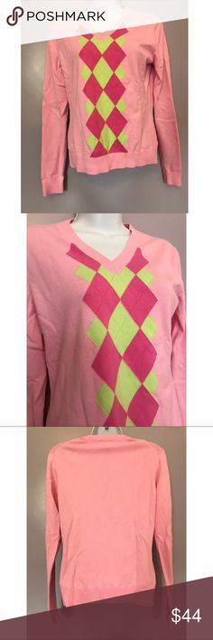 {Lily Pulitzer} Argyle Sweater Fun and preppy! Argyle sweater. 80% cotton, 18% nylon, 2% spandex. Two small stains on the back - will probably come out. Lily Pulitzer Sweaters V-Necks