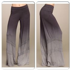 NWT Gray Ombré Wide Leg Pants NWT Gray Ombré Wide Leg Pants. Beautiful ombré style pants with crochet insets and fold over waist band. These are the most comfortable pants, very stretchy. Made in the USA! Fabric is Viscose/Spandex. Each item is hand dyed, each pair will have slightly different dye variations. Available in S or M (see size chart above). No Trades and No Paypal⭐️PLEASE DO NOT BUY THIS LISTING, COMMENT WHEN READY TO BUY AND I WILL MAKE A NEW LISTING FOR PURCHASE⭐️ Sold out of…