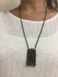 Long layered necklace with tigers eye