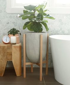 Eva series medium planter with timber legs This simple and modern plant stand made inspired by Mid Century design would be a perfect addition to house your much loved indoor plant. Also suitable for o Diy Planters Outdoor, Concrete Planters, Hanging Planters, Planter Pots, Modern Plant Stand, Diy Plant Stand, Plant Stands, Tall Plant Stand Indoor, Objet Deco Design