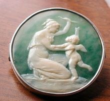 Rare green agate cameo of Venus and Cupid