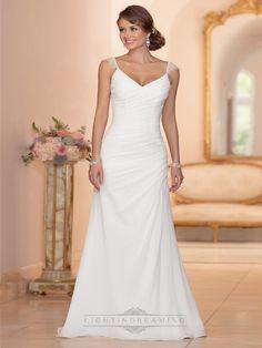 Cap Sleeves Sheath V-neck Ruched Bodice Wedding Dresses