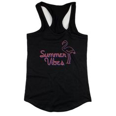Black summer vibes flamingo tank top for women summer vacation beach wear-apparel & accessories Funny Gifts For Dad, Summer Shirts, Sleeveless Shirt, Graphic Shirts, Racerback Tank Top, Summer Vibes, What To Wear, Athletic Tank Tops, Clothes For Women