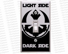 Star wars decals, Star wars light Switch Decal Imperial Empire & Rebel Alliance decal Light Side or Dark Side decal for from FineCraftsman on Etsy. Light Switch Plates, Light Switch Covers, Light Side, Dark Side, Cocina Star Wars, Star Wars Zimmer, Star Wars Bathroom, Star Wars Kitchen, Star Wars Classroom