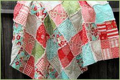 Handmade Cotton Rag Quilt Quilted Throw Lap Quilt by norahsthings