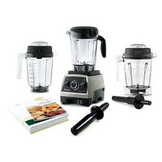 Vitamix Professional Series 750 Brushed Steel Blender Mixer 3 Wet Dry Containers #Vitamix