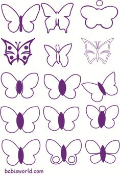 free mold butterflies in pdf format Diy Butterfly, Butterfly Template, Doodles Zentangles, Zentangle Patterns, Paper Butterflies, Paper Flowers, Coloring Books, Coloring Pages, Diy Garland