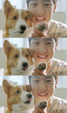 cute doggy with Lee Je Hoon