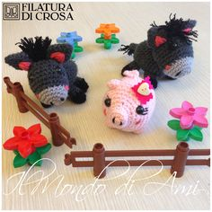 Animaletti Portachiavi realizzati con i filati ZARA ed EXCELLENT (Filatura di Crosa)