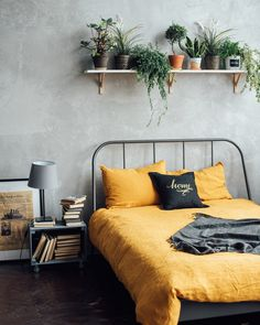 101 Simple Small Bedroom Design Ideas That Are Look Stylishly Space Saving - It used to be very difficult to get a decent small bedroom design but the times have changed and with the way in which modern furniture and room desig. Bedroom Plants, Bedroom Wall, Bedroom Decor, Bedding Decor, Rustic Bedding, Boho Bedding, Modern Bedding, Bed Room, Orange Bed Linen