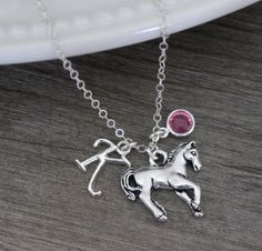 Horse Necklace, Personalized Horse Necklace, Horse Charm Necklace,  Letter Birthstone, Horse Jewelry, Horse Lover Gift, Cute Horse, CLCB