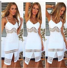 Hollow Spaghetti Sleeveless Strap Party Dress