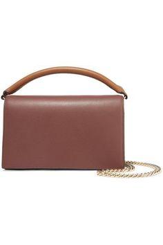 Diane von Furstenberg - Soirée Color-block Leather Shoulder Bag - Brown