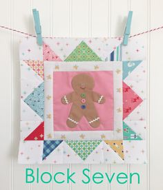 Gingerbread man quilt block - Cozy Christmas fabric collection - Bee in My Bonnet