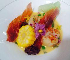 Atlantic scallops, crispy Parma ham, corn soup and Kashmiri morels