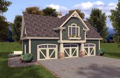 3 car garage plan with awesome luxury 1 bedroom apartment above. plane number 93473