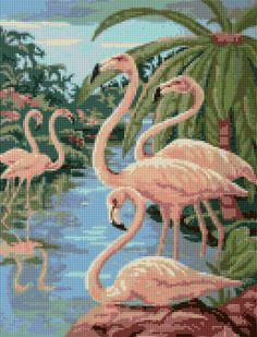 Vintage 1950s Flamingos Cross Stitch pattern PDF EASY chart