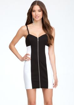 Zipper Front Mini Dress