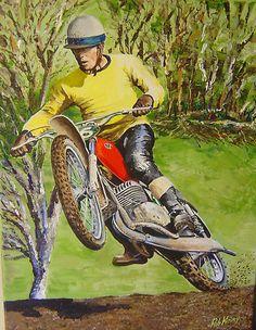'Joel Robert 6 time World Motocross Champion Commission' by robkinseyart Vintage Bikes, Vintage Motorcycles, Custom Motorcycles, Cars And Motorcycles, Motocross Bikes, Vintage Motocross, Motorcross, Off Road Bikes, Dirt Bikes