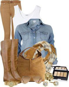 Clothes Jean shirt tan skinny leg pants and boots