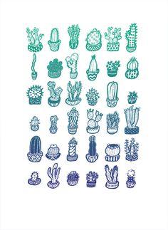 Impresión del jardín de cactus por CactusClub en Etsy
