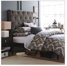WestElm Gray bedroom- i like the way the bed is dressed here.