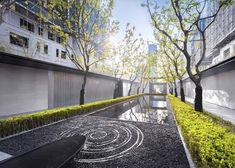 Taoyuan Courtyard, Sunac by Antao Minimalist Landscape, Minimalist Garden, Contemporary Landscape, Architecture Courtyard, Landscape Architecture, Landscape Design, Japan Garden, Garden Park, Chinese Courtyard