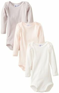 Petit Bateau Baby-Girls Infant 3 Pack Of Solid Bodysuits