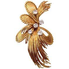 Mauboussin Paris Diamond Yellow Gold Brooch. Circa 1960s   $2,500