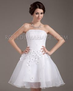 Bustier robe de mariée civil organza fleurs pas cher [#ROBE205847]…