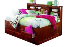 Full Daybeds with Bookcase Headboard, Trundle, and Three Storage Drawers