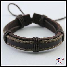 Man's Leather Hemp Surfer Tribal Multi-Wrap Wrist Bracelet