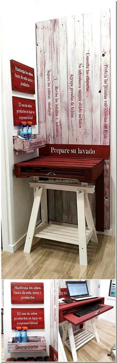 wood pallet pc desk and wall decor
