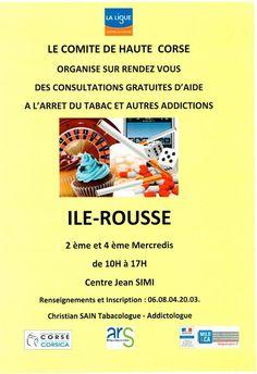 Aide à l'arrêt du tabac et autres addictions  ILE ROUSSE Tous les mois Chaque 2ième et 4ième mercredi » Corsevent