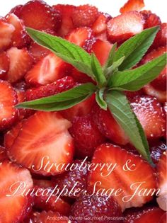 Strawberry Pineapple Sage Jam- what a unique pairing! Sage Recipes, Herb Recipes, Canning Recipes, Plant Based Recipes, Freezing Strawberries, Pineapple Sage, Vegetarian Recipes, Healthy Recipes, Us Foods