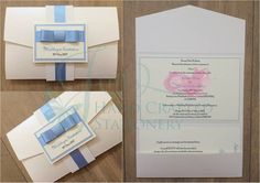 White glitter belly band pocket fold invitation with pale blue ribbon  www.jenshandcraftedstationery.co.uk  www.facebook.com/jenshandcraftedstationery Hand Made Wedding stationery: Save the date, Wedding invitations, Table Plans, Place Settings, Guest Books, Post Boxes, Menus, Table Numbers/Names