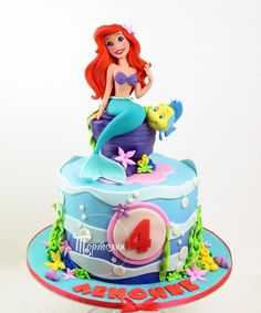 New cake birthday kids girl little mermaids 31 Ideas Little Mermaid Birthday Cake, Little Mermaid Cakes, Baby Birthday Cakes, Girl Birthday Themes, The Little Mermaid, Birthday Kids, Sirenita Cake, Jasmin Party, Decors Pate A Sucre