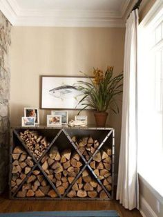 firewood storage and creative firewood rack ideas for indoor. Lots of great buil. firewood s Tiny Wood Stove, Indoor Wood Stove, Wood Stove Decor, Range Buche, Wood Store, Diy Storage, Creative Storage, Storage Rack, Storage Sheds