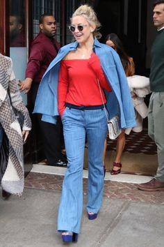 Kate Hudson seen leaving the Greenwich Hotel, NYC, wearing Nicholas Kirkwood Birds of Paradise platforms.