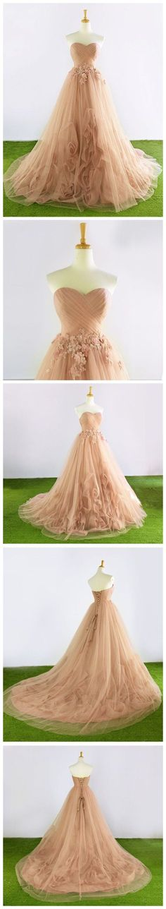 CHIC CHAMPAGNE PROM DRESS A-LINE SWEETHEART APPLIQUE PROM DRESS EVENING DRESS AM965 #amyprom #fashion #love #formaldress #beautifuldress #longpromdress #modest