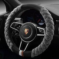 QIMEI Velvet Car Steering Wheel Cover Plush Fluffy Winter Warm Soft Auto Wheel Cushion Protector for Lady Universal 15 inch (B-Gray) Bling Car Accessories, Car Interior Accessories, Car Steering Wheel Cover, Steering Wheels, Cute Cars, Car Wheels, Plush, Leather, Car Stuff